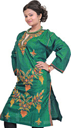 Deep-Lake Kashmiri Kurti with Ari Embroidery by Hand