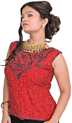 Hibiscus-Red Top from Barreily with Hand-Embroidered Beads All-Over