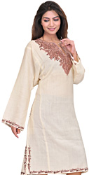 Vanilla-Ice Phiran from Kashmir with Ari Embroidered Paisleys on Neck