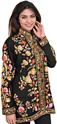 Jet-Black Kashmiri Jacket with Ari Embroidered Flowers in Multicolor Thread