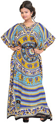 Kaftan with Printed Elephants and Dori at Waist