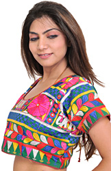 Fairway-Green Choli from Kutch with Embroidery in Multicolor Thread