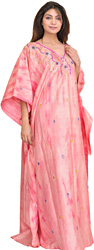 Batik-dyed Blossom-Pink Kashmiri Kaftan with Embroidered Beads