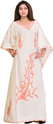Snow-White Kashmiri Kaftan with Ari Embroidered Paisleys