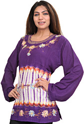 Petunia-Purple Kurti with Batik Print and Thread Work