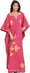 Pink-Flambe Kashmiri Kaftan with Ari Embroidered Paisleys