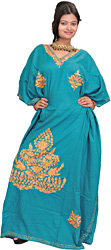 Lake-Blue Kashmiri Kaftan with Ari Embroidery