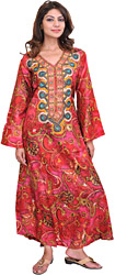 Rococco-Red Kashmiri Kaftan with Embroidered Beads and Akbari Print