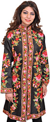 Caviar-Black Kashmiri Long Jacket with Ari Embroidered Flowers in Multicolor Thread