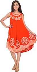Fiesta-Orange Dress with Batik Printed Flowers and Threadwork