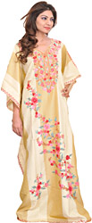 Ivory and Taos-Taupe Kashmiri Kaftan with Ari Embroidered Flowers