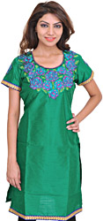 Amazon-Green Kurti with Embroidered Rose Patch and Crystals
