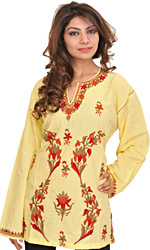 Mellow-Yellow Kashmiri Kurti with Ari-Embroidered Flowers by Hand