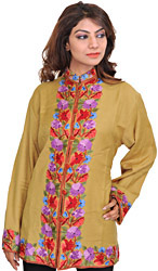 Prairie-Sand Jacket from Kashmiri with Floral Ari Embroidery on Border
