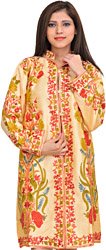 Apricot-Sherbet Kashmiri Long Jacket with Floral Ari-Embroidery All-Over