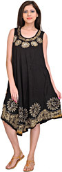 Jet-Black Dress with Batik Printed Flowers and Threadwork