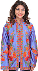 Blue-Bonnet Jacket from Kashmir with Ari-Embroidered Flowers