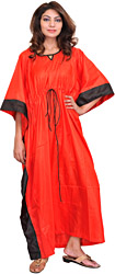 Poppy-Red Solid Kaftan with Black Border and Waist Sash
