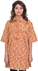 Honey-Peach Block-Printed Kurti with Collar Neck and Front Pockets