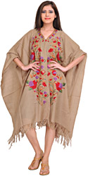 Goat-Gray Kashmir Cape with Ari Embroidered Flowers by Hand