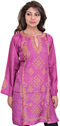 Dahlia-Mauve Kashmiri Kurti with Ari Embroidered Paisleys