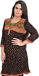Licorice-Black Bandhani Tie-Dye Kurti with Embroidered Patch on Neck and Mirros