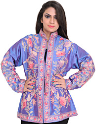 Blue-Bonnet Jacket from Kashmir with Floral Ari-Embroidery