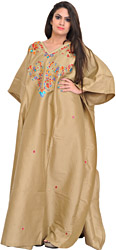 Mojave-Desert Kashmiri Kaftan with Embroidered Beads and Stone-Work on Neck