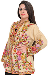 Almond-Oil Jacket from Kashmir with Floral Ari-Embroidery by Hand
