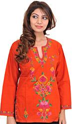 Orange-Rust Kashmiri Kurti with Ari-Embroidered Flowers by Hand