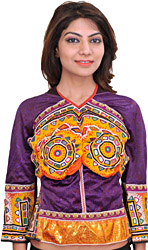Purple and Yellow Backless Choli from Kutch with Antiquated Rabari Embroidery and Mirrors