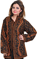Jet-Black Kashmiri Jacket with Sozni Embroidery All-Over