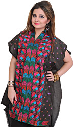 Caviar-Black Kurti from Punjab with Phulkari Embroidery