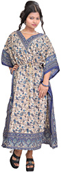Pearled-Ivory and Blue Kaftan with Printed Paisleys and Dori at Waist