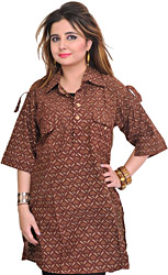 Cinnamon-Brown Block-Printed Kurti from Pilkhuwa with Front Pockets