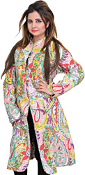 Multicolor Reversible Long Jacket from Pilkhuwa with Printed Paisleys and Straight Stitch