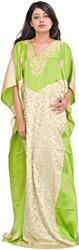 Macaw-Green and Cream Kashmiri Kaftan with Ari-Embroidered Paisleys