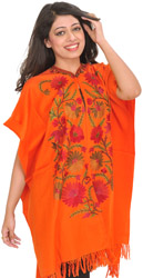 Tigerlily-Orange Cape from Kashmir with Ari Embroidered Flowers by Hand