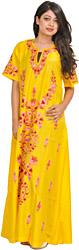 Freesia-Yellow Kashmiri Maxi Gown with Floral Ari Embroidery