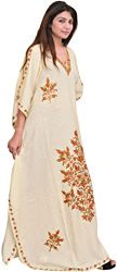 Cream Kaftan from Kashmir with Ari-Embroidered Flowers