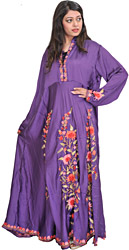 Royal-Purple Long Gown from Kashmir with Ari-Embroidered Flowers