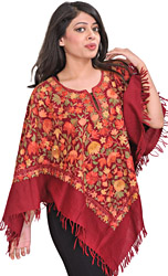 Biking-Red Poncho from Kashmir with Hand Embroidered Flowers All-Over