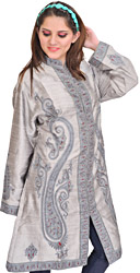 Silver-Gray Long Jacket from Kashmir with Giant Hand-Embroidered Paisleys