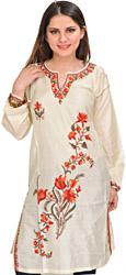 Kashmiri Long Kurti with Ari Embroidery by Hand