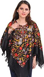 Jet-Black Poncho from Kashmir with Floral Ari-Embroidery All-Over