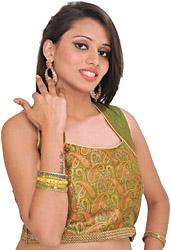 Cactus-Green Sleeveless Brocaded Choli from Banaras with Woven Paisleys and Gota Border