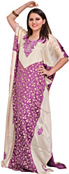 Cream and Purple Kaftan from Kashmir with Ari-Embroidered Paisleys