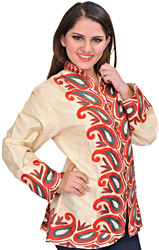 Pearled-Ivory Jacket from Kashmir with Ari Embroidered Paisleys
