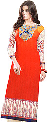 Printed Long Kurti with Embroidered Patch on Neck