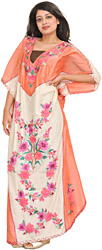 Tawny-Orange and Cream Kaftan from Kashmir with Ari-Embroidered Flowers